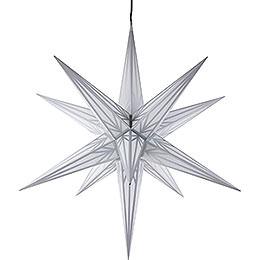 Haßlauer Weihnachtsstern für Innen und Außen weiß mit Silbermuster inkl. Beleuchtung  -  75cm