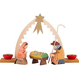 Heilige Familie mit Krippenbogen 4 - teilig  -  9,5cm