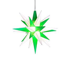Herrnhuter Moravian Star A1e White/Green Plastic  -  13cm/5.1 inch