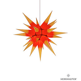 Herrnhuter Moravian Star I6 Yellow with Red Core Paper  -  60cm / 23.6 inch