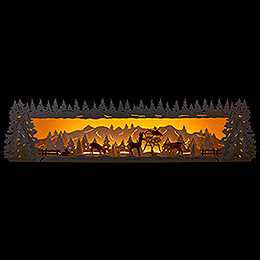 Illuminated Stand  -  Snowy Forest with Deer  -  77x20cm / 30.3x7.9 inch