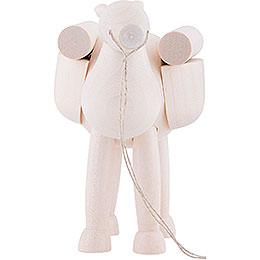 Kamel, stehend, mit Gepäck, weiß lasiert  -  11cm