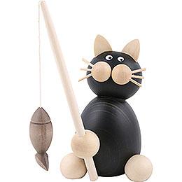 Katze Hilde mit Fisch  -  8cm
