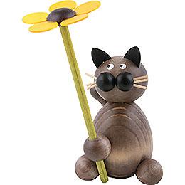Katze Karli mit Blume  -  8cm