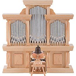 Kurzrockengel Engel an der Orgel mit Spielwerk, natur  -  15,5cm