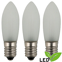 LED - Riffelkerze gefrostet  -  Sockel E10  -  warmweiß  -  0,1 - 0,2W