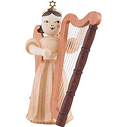 Langfaltenrockengel mit Harfe, natur  -  6,6cm