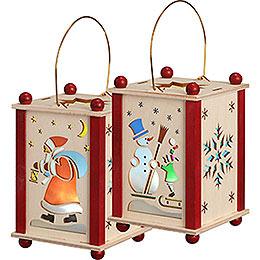 Lantern Santa Claus & Snowman  -  21cm / 8 inch
