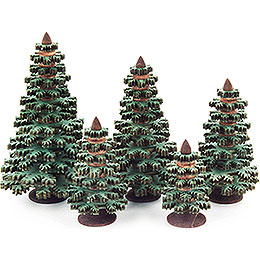Layered Trees  -  Conifers Green  -  5 pieces  -  8cm / 3.1 inch