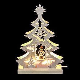 Lichterspitze Mini - Baum Weihnachtsmarkt  -  LED  - 23,5x15,5x4,5cm