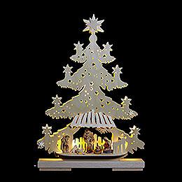 Lichterspitze Tanne Christuskind mit Krippenfiguren  -  32x44x7cm