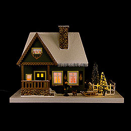 Lighted House Old Forester's Lodge with Christmas Tree  -  25cm / 9.8 inch