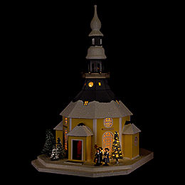 Lighted House Seiffen Church with Carolers and Christmas Tree  -  42cm / 16.5 inch