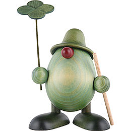Little Green Man with Four - Leaf Clover and Stick, Standing  -  11cm / 4.3 inch