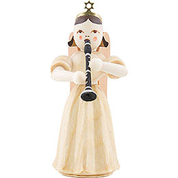 Long Pleated Skirt Angel with Clarinet, Natural  -  6,6cm / 2.6 inch