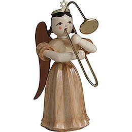 Long Pleated Skirt Angel with Slide Trombone, Natural  -  6,6cm / 2.6 inch