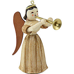 Long Pleated Skirt Angel with Trombone, Natural  -  6,6cm / 2.6 inch