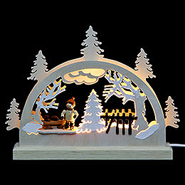 Mini LED Light - Arch Ice Skater (3 Figures)  -  23x15x4,cm / 9x6x2 inch