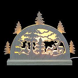 Mini - LED - Schwibbogen Waldmotiv  -  23x15x4,5cm
