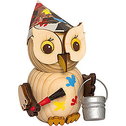 Mini Owl Painter  -  7cm / 2.8 inch