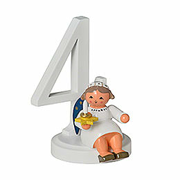 "Number ""4"" with Angel  -  7cm / 2.8 inch"