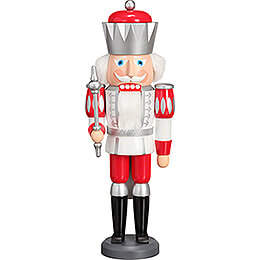 Nutcracker  -  King Exclusive White - Silver - Red  -  40cm / 15.7 inch