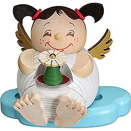 Räuchermännchen Engel mit Erzgebirgspyramide  -  Kugelräucherfigur  -  10cm