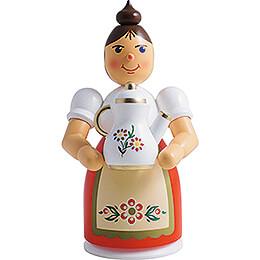 Räuchermännchen Frau mit Schürze und Kanne  -  17cm