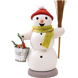 Räuchermännchen Schneemann mit Eimer und Besen  -  13cm