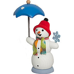 Räuchermännchen Schneemann mit Schirm  -  13cm