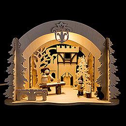 Raumleuchte als Diorama Burgweihnacht  -  19cm