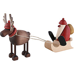 Rudolf the Reindeer with Santa Claus on a Sledge  -  12cm / 4.7 inch