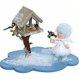 Schneeflöckchen mit Futterhaus  -  10x7x6cm