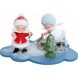 Schneeflöckchen und Weihnachtsmann  -  10x7x6cm