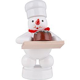 Schneemann Bäcker mit Torte  -  8cm
