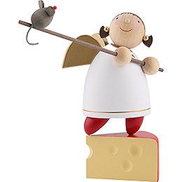 Schutzengel auf Käse balancierend  -  8cm