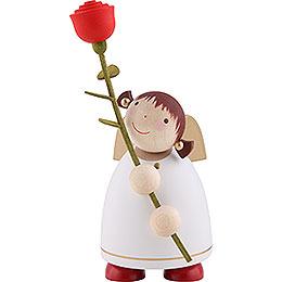 Schutzengel mit Rose, weiss  -  8cm