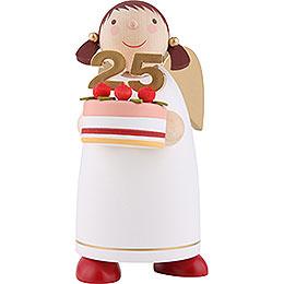 Schutzengel mit Torte, weiss  -  8cm