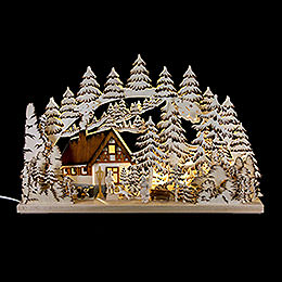 Schwibbogen Berghütte handgemalt braun  -  62x39cm