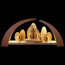 Schwibbogen LED modern Kurrende und Kirche  -  62x26,5cm