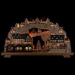 Schwibbogen Weihnachtsmarkt mit Baum  -  70x40cm