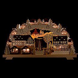 Schwibbogen Weihnachtsmarkt mit drehender Pyramide 70x40cm