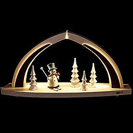 Schwibbogen modern wood Schneemann  -  41x20x9,5cm