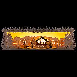 Schwibbogenerhöhung Weihnachtsmarkt verschneit  -  60x17cm