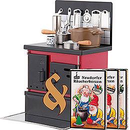 Set Räucherofen Küchenherd rot - schwarz und drei Packungen Räucherkerzen