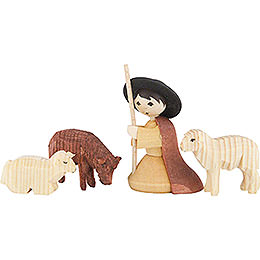 Shepherd kneeling with 3 Sheep Stained  -  7cm / 2.8 inch