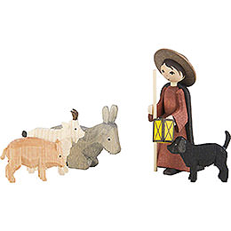 Shepherd with Animals, Set of Five, Stained  -  7cm / 2.8 inch