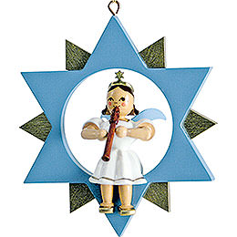 Short Skirt Angel with Flute in Star, Colored  -  9cm / 3.5 inch