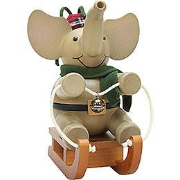 Smoker  -  Elephant on Sleigh  -  19,5cm / 7.5 inch