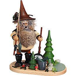 Smoker  -  Forest Gnome Fisherman on Oval Plate  -  26cm / 10.2 inch